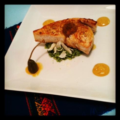 Moroccan rub swordfish with paprika wine sauce